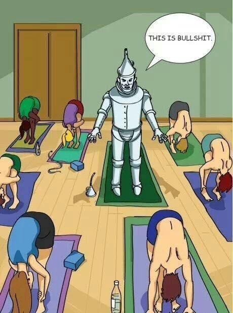 Tinman in yoga class